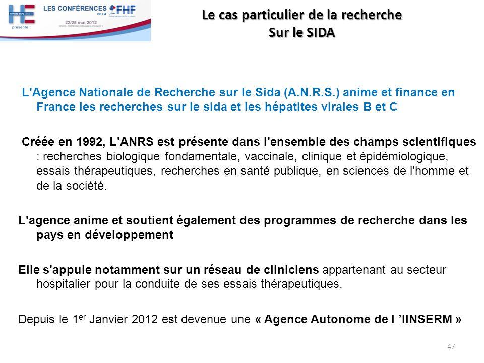 Le cas particulier de la recherche Sur le SIDA L'Agence Nationale de Recherche sur le Sida (A.N.R.S.) anime et finance en France les recherches sur le