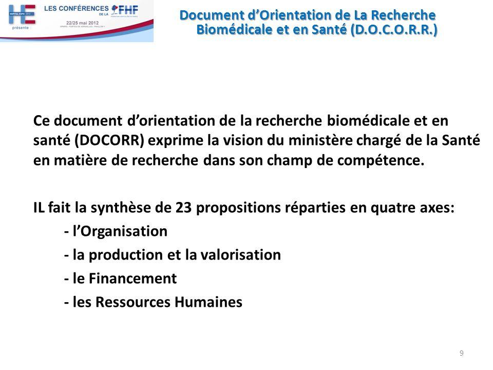 Document dOrientation de La Recherche Biomédicale et en Santé (D.O.C.O.R.R.) Ce document dorientation de la recherche biomédicale et en santé (DOCORR)