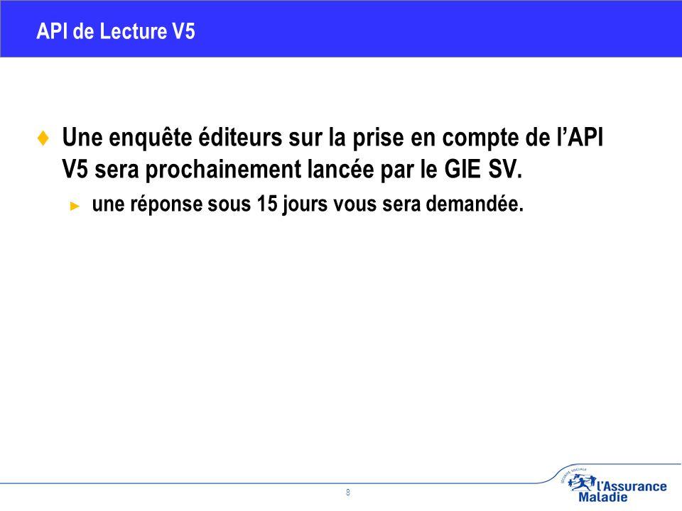 Février 2010 8 API de Lecture V5 Une enquête éditeurs sur la prise en compte de lAPI V5 sera prochainement lancée par le GIE SV.