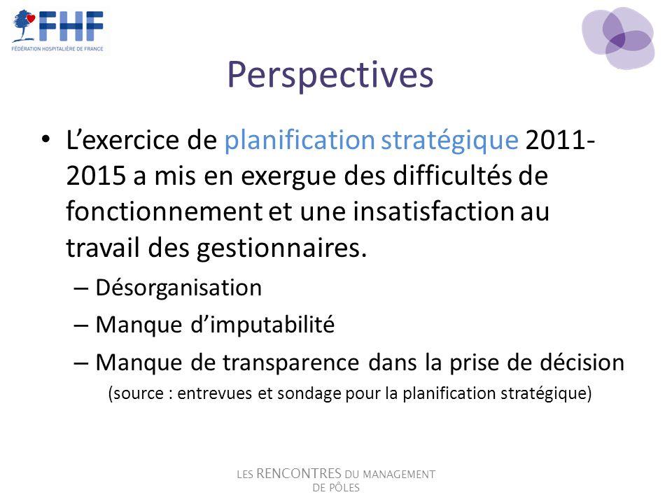 Perspectives Lexercice de planification stratégique 2011- 2015 a mis en exergue des difficultés de fonctionnement et une insatisfaction au travail des