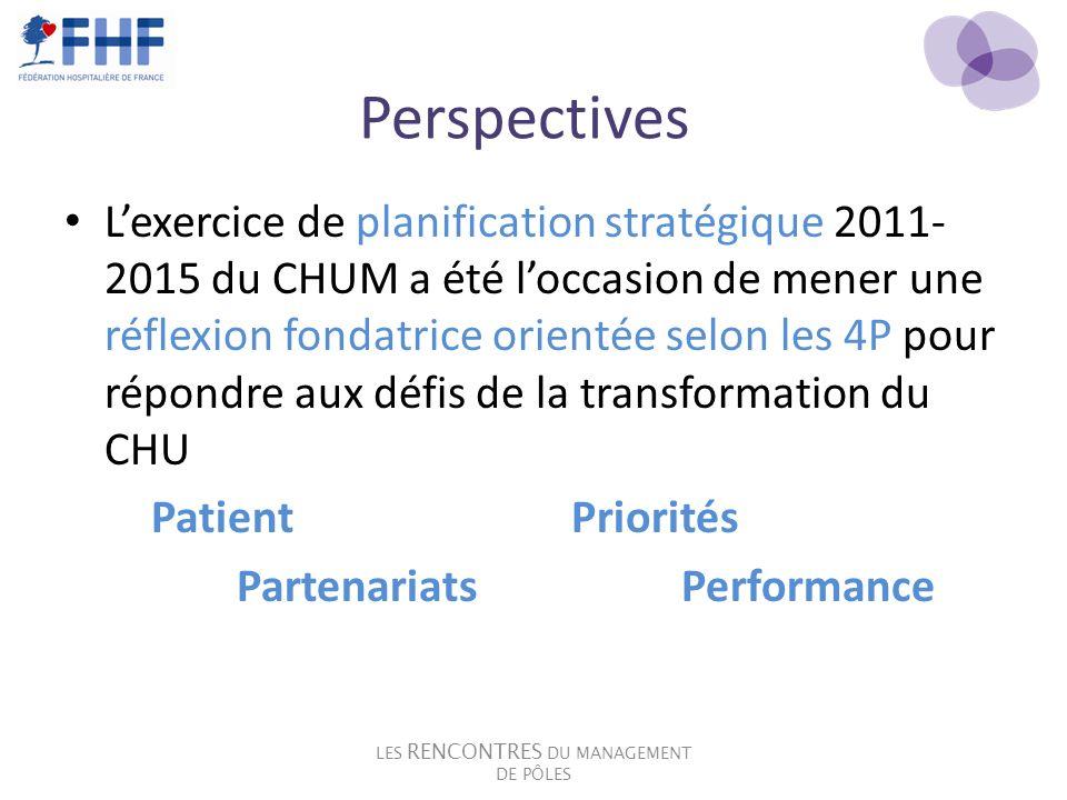 Perspectives Lexercice de planification stratégique 2011- 2015 du CHUM a été loccasion de mener une réflexion fondatrice orientée selon les 4P pour ré