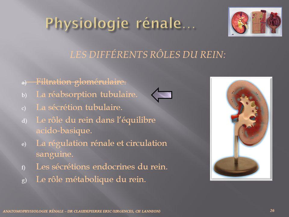 ANATOMOPHYSIOLOGIE RÉNALE – DR CLAUDEPIERRE ERIC (URGENCES, CH LANNION) 26 LES DIFFÉRENTS RÔLES DU REIN: a) Filtration glomérulaire. b) La réabsorptio