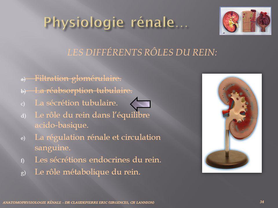 ANATOMOPHYSIOLOGIE RÉNALE – DR CLAUDEPIERRE ERIC (URGENCES, CH LANNION) 34 LES DIFFÉRENTS RÔLES DU REIN: a) Filtration glomérulaire. b) La réabsorptio