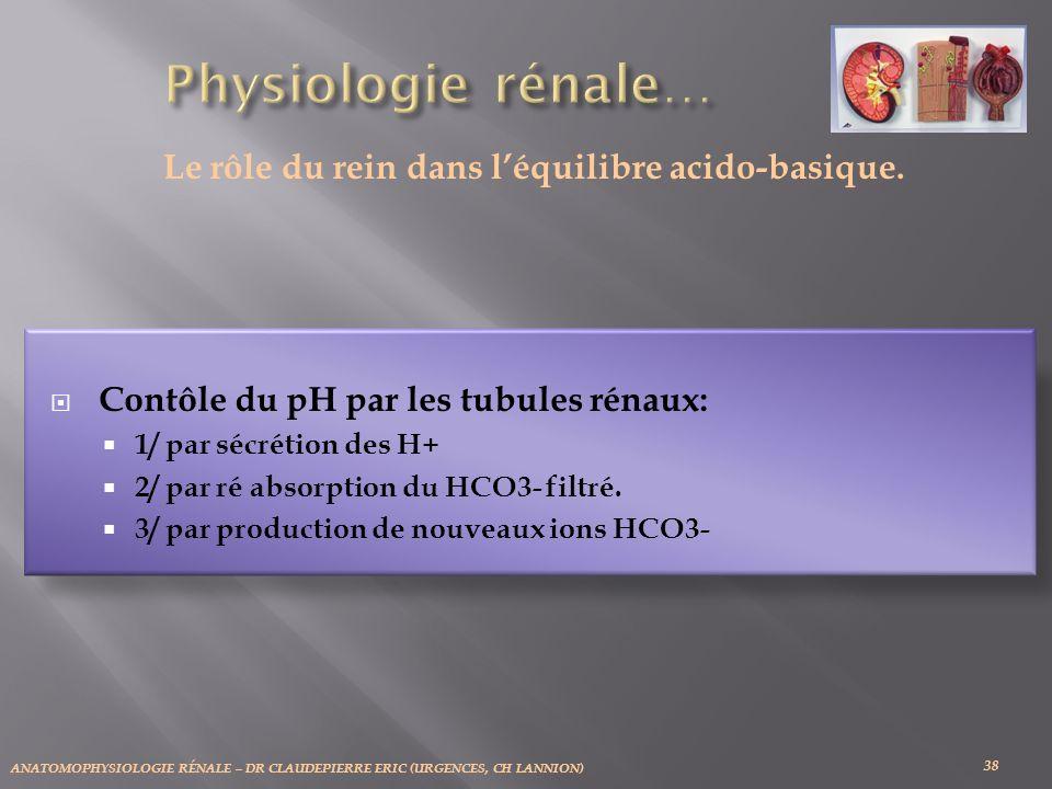 ANATOMOPHYSIOLOGIE RÉNALE – DR CLAUDEPIERRE ERIC (URGENCES, CH LANNION) 38 Le rôle du rein dans léquilibre acido-basique.