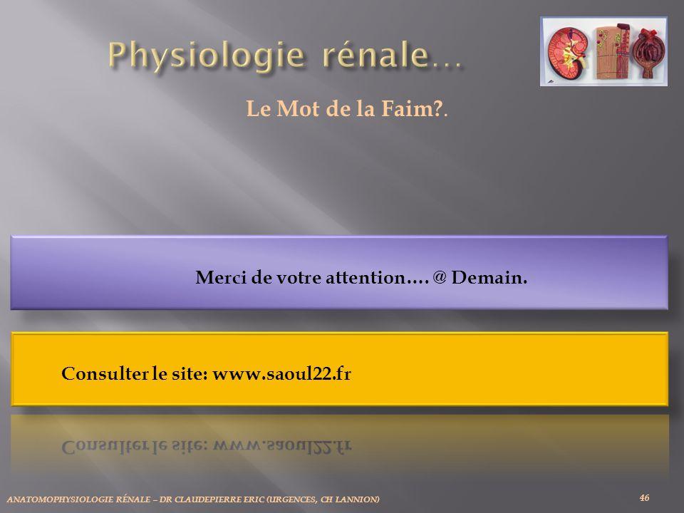 ANATOMOPHYSIOLOGIE RÉNALE – DR CLAUDEPIERRE ERIC (URGENCES, CH LANNION) 46 Le Mot de la Faim?.