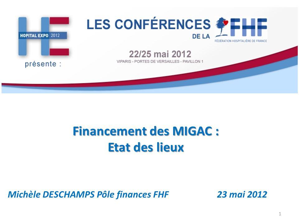 Financement des MIGAC : Etat des lieux Michèle DESCHAMPS Pôle finances FHF23 mai 2012 1