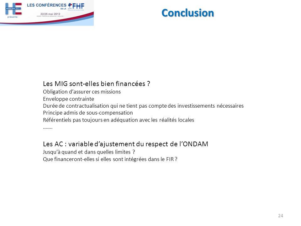 Conclusion 24 Les MIG sont-elles bien financées ? Obligation dassurer ces missions Enveloppe contrainte Durée de contractualisation qui ne tient pas c