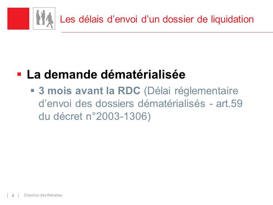 Direction des Retraites 4 Les délais denvoi dun dossier de liquidation La demande dématérialisée 3 mois avant la RDC (Délai réglementaire denvoi des dossiers dématérialisés - art.59 du décret n°2003-1306)