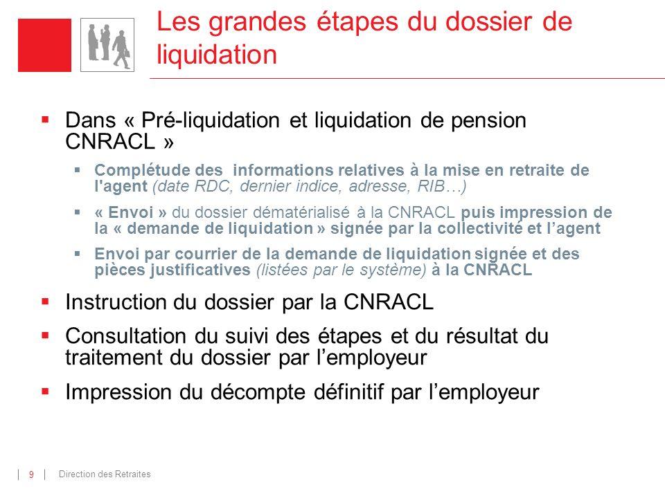 Direction des Retraites 9 Les grandes étapes du dossier de liquidation Dans « Pré-liquidation et liquidation de pension CNRACL » Complétude des inform