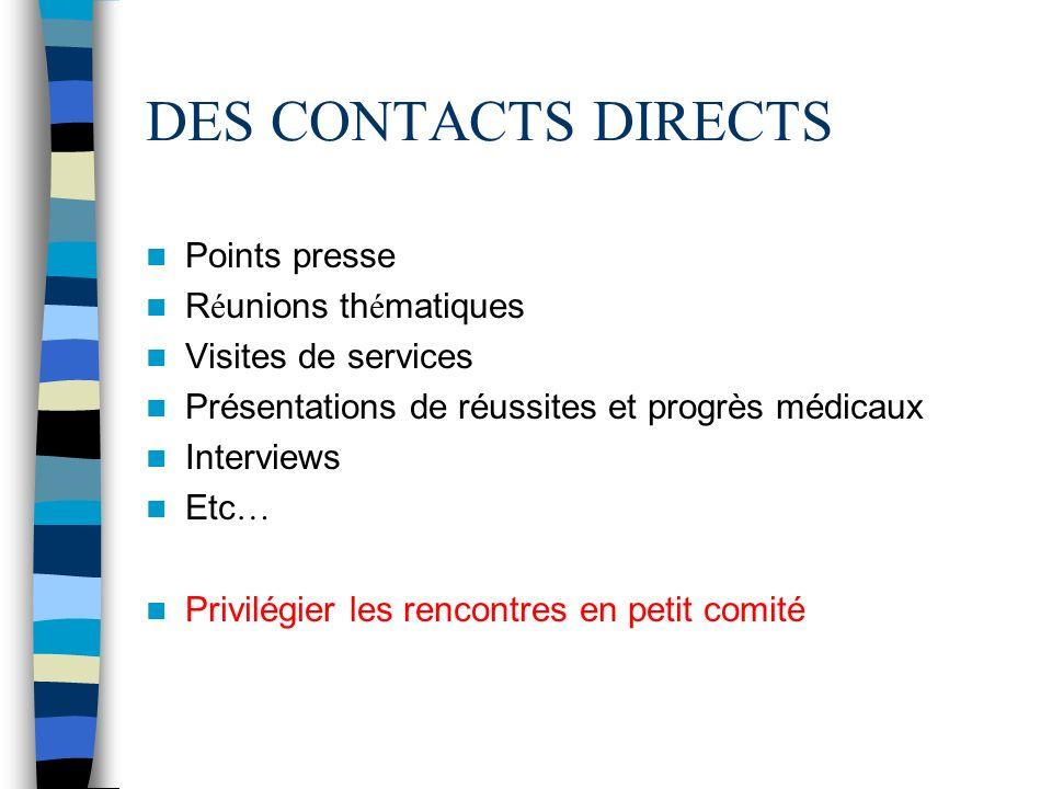 DES CONTACTS DIRECTS Points presse R é unions th é matiques Visites de services Présentations de réussites et progrès médicaux Interviews Etc … Privil