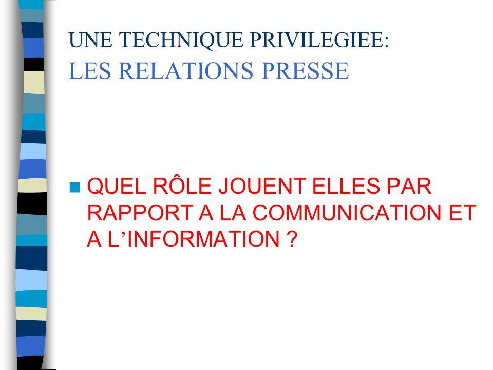 UNE TECHNIQUE PRIVILEGIEE: LES RELATIONS PRESSE QUEL RÔLE JOUENT ELLES PAR RAPPORT A LA COMMUNICATION ET A L INFORMATION ?