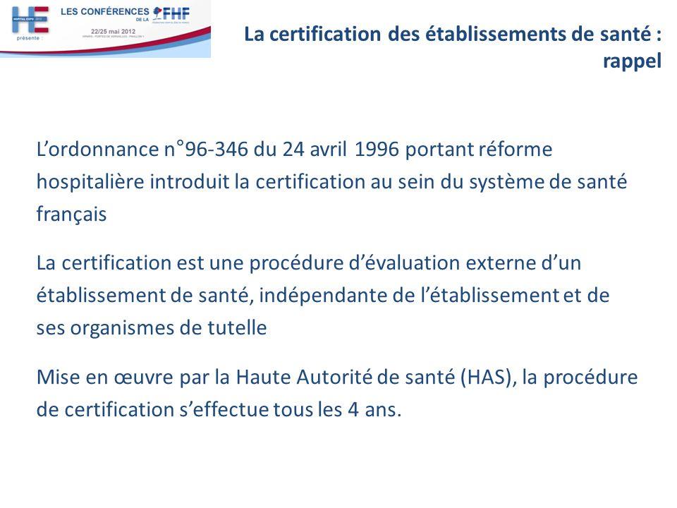 Lordonnance n°96-346 du 24 avril 1996 portant réforme hospitalière introduit la certification au sein du système de santé français La certification es