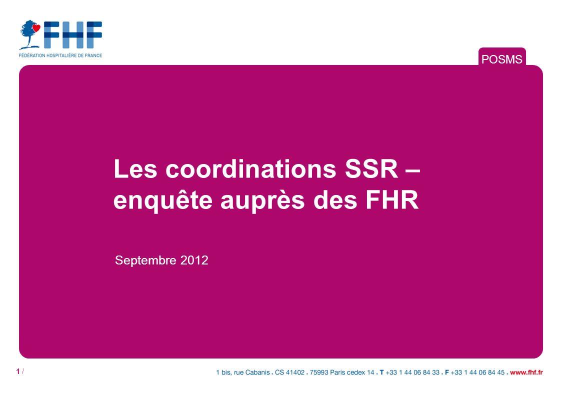 1 / Les coordinations SSR – enquête auprès des FHR Septembre 2012 POSMS
