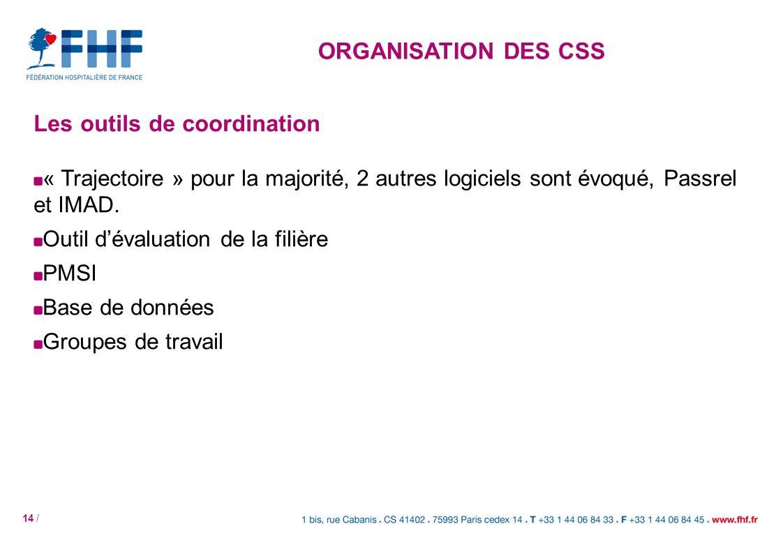 14 / Les outils de coordination « Trajectoire » pour la majorité, 2 autres logiciels sont évoqué, Passrel et IMAD. Outil dévaluation de la filière PMS