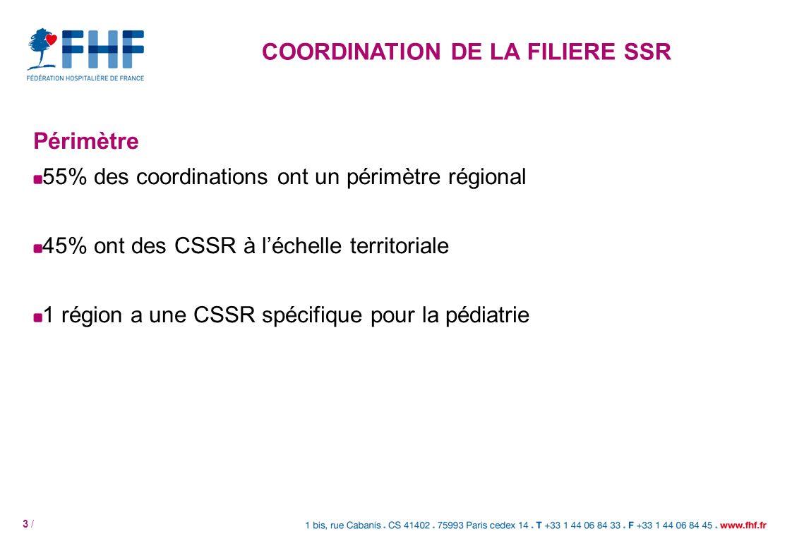 3 / Périmètre 55% des coordinations ont un périmètre régional 45% ont des CSSR à léchelle territoriale 1 région a une CSSR spécifique pour la pédiatri