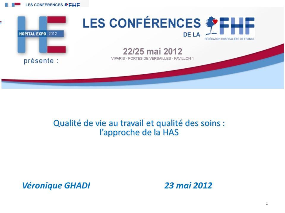 Qualité de vie au travail et qualité des soins : lapproche de la HAS Véronique GHADI 23 mai 2012 1