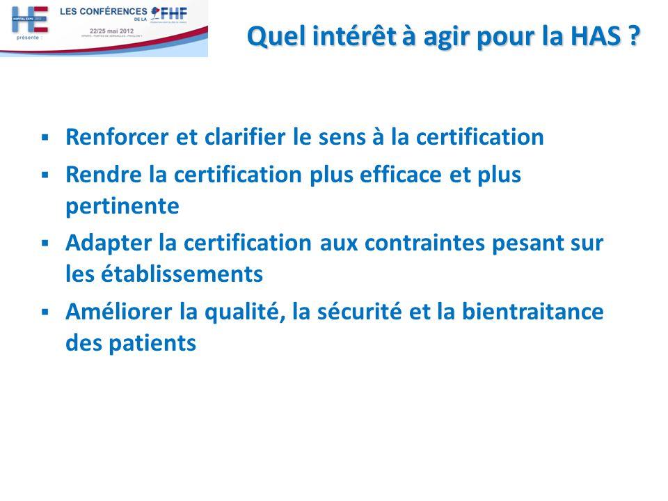 Renforcer et clarifier le sens à la certification Rendre la certification plus efficace et plus pertinente Adapter la certification aux contraintes pe
