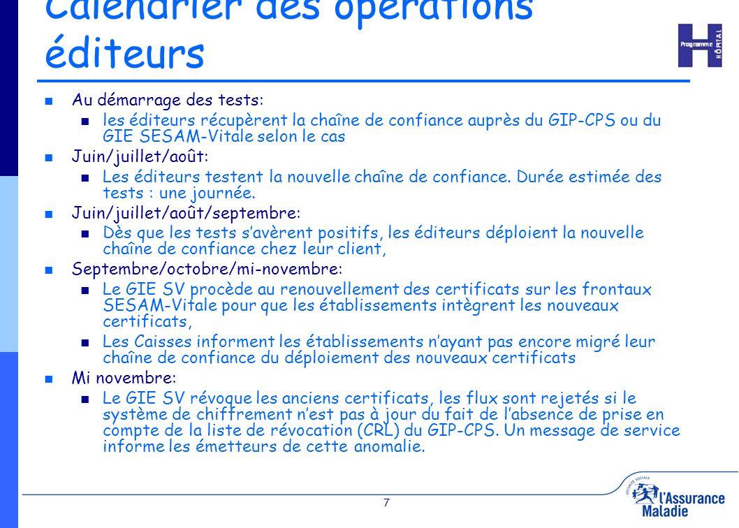 7 Calendrier des opérations éditeurs Au démarrage des tests: les éditeurs récupèrent la chaîne de confiance auprès du GIP-CPS ou du GIE SESAM-Vitale s