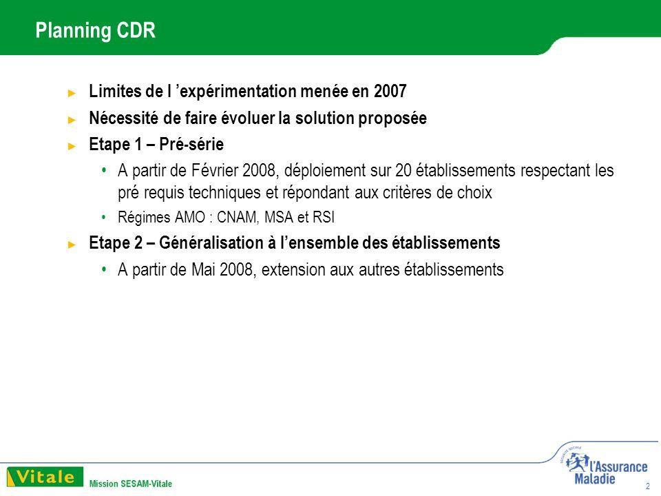 2 Planning CDR Limites de l expérimentation menée en 2007 Nécessité de faire évoluer la solution proposée Etape 1 – Pré-série A partir de Février 2008, déploiement sur 20 établissements respectant les pré requis techniques et répondant aux critères de choix Régimes AMO : CNAM, MSA et RSI Etape 2 – Généralisation à lensemble des établissements A partir de Mai 2008, extension aux autres établissements