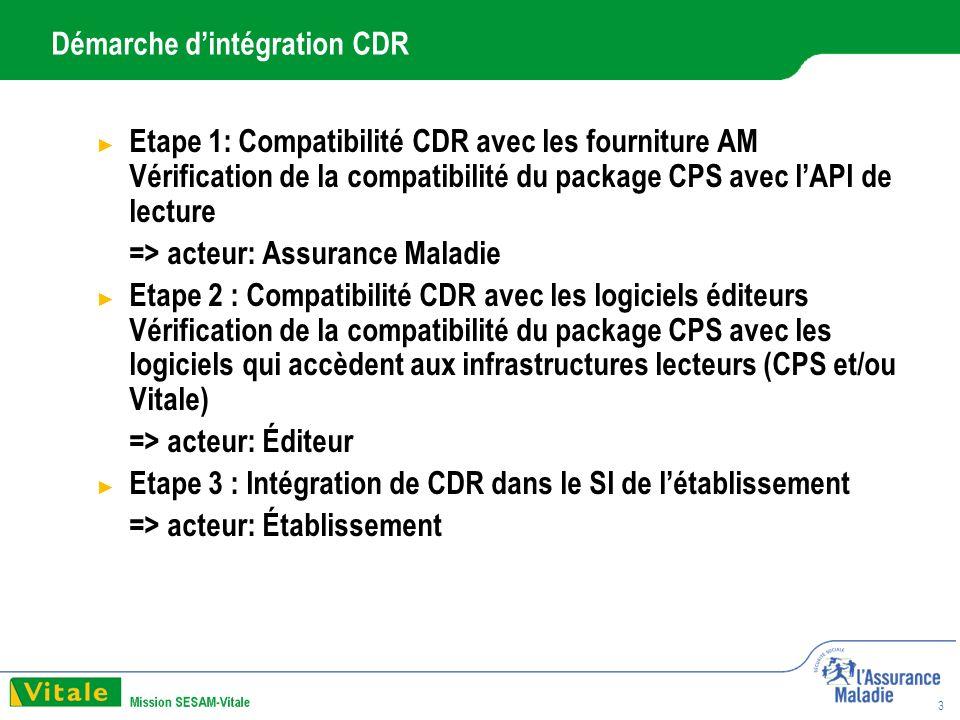 3 Démarche dintégration CDR Etape 1: Compatibilité CDR avec les fourniture AM Vérification de la compatibilité du package CPS avec lAPI de lecture => acteur: Assurance Maladie Etape 2 : Compatibilité CDR avec les logiciels éditeurs Vérification de la compatibilité du package CPS avec les logiciels qui accèdent aux infrastructures lecteurs (CPS et/ou Vitale) => acteur: Éditeur Etape 3 : Intégration de CDR dans le SI de létablissement => acteur: Établissement