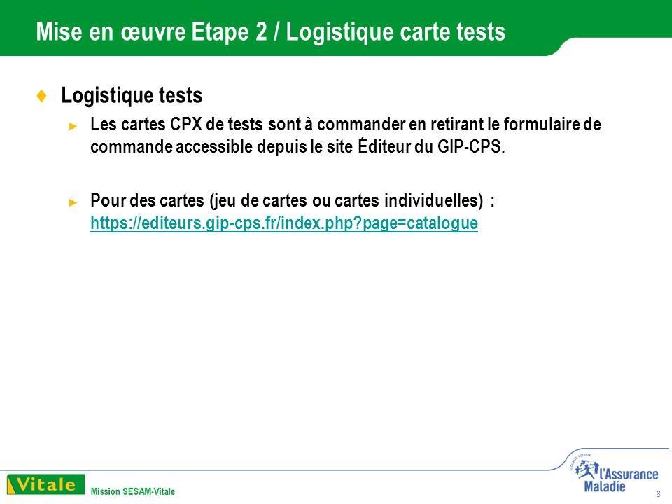 8 Mise en œuvre Etape 2 / Logistique carte tests Logistique tests Les cartes CPX de tests sont à commander en retirant le formulaire de commande accessible depuis le site Éditeur du GIP-CPS.