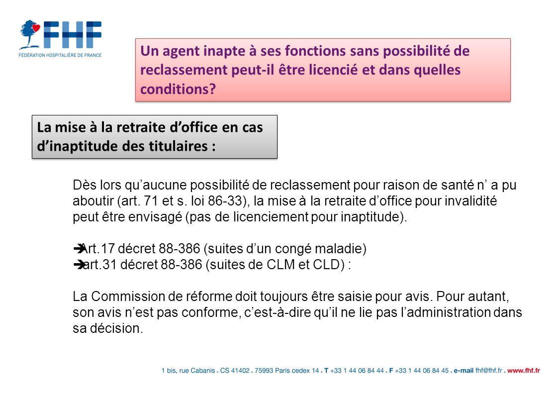 Avant tout licenciement : - Rechercher les possibilités de reclassement de lagent contractuel (CAA Paris, 05/10/2004) - informer lagent par LRAR - convoquer lagent à un entretien pendant lequel lemployeur doit indiquer les motifs de licenciement.