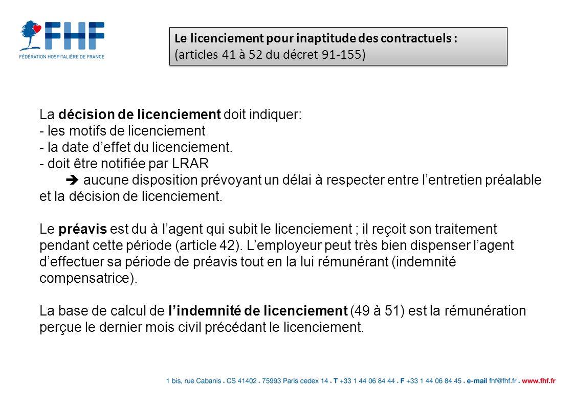 La décision de licenciement doit indiquer: - les motifs de licenciement - la date deffet du licenciement. - doit être notifiée par LRAR aucune disposi