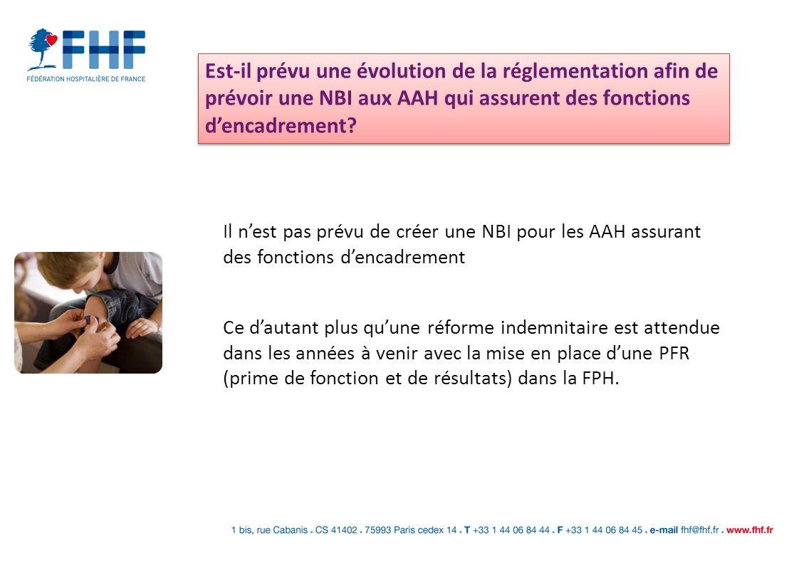 Est-il prévu une évolution de la réglementation afin de prévoir une NBI aux AAH qui assurent des fonctions dencadrement? Il nest pas prévu de créer un