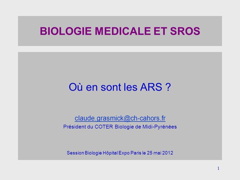 1 BIOLOGIE MEDICALE ET SROS Où en sont les ARS ? claude.grasmick@ch-cahors.fr Président du COTER Biologie de Midi-Pyrénées Session Biologie Hôpital Ex