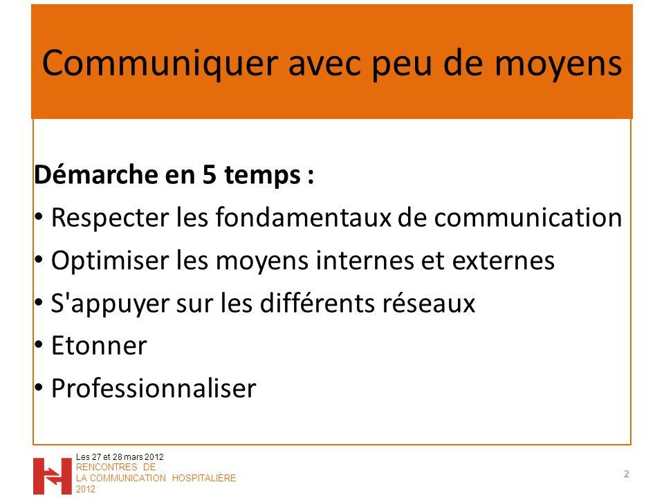 2 Communiquer avec peu de moyens 2 Les 27 et 28 mars 2012 RENCONTRES DE LA COMMUNICATION HOSPITALIÈRE 2012 Démarche en 5 temps : Respecter les fondame