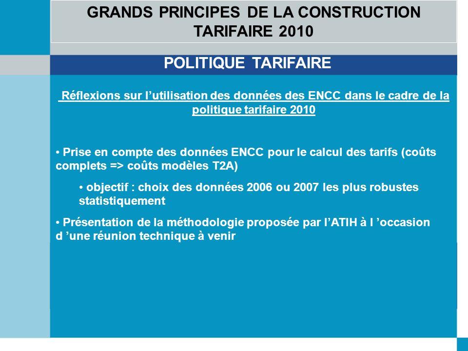 GRANDS PRINCIPES DE LA CONSTRUCTION TARIFAIRE 2010 POLITIQUE TARIFAIRE Réflexions sur lutilisation des données des ENCC dans le cadre de la politique