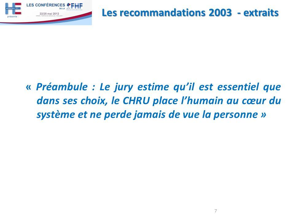 Les recommandations 2003 - extraits « Préambule : Le jury estime quil est essentiel que dans ses choix, le CHRU place lhumain au cœur du système et ne perde jamais de vue la personne » 7