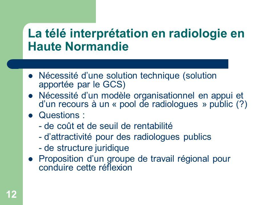12 La télé interprétation en radiologie en Haute Normandie Nécessité dune solution technique (solution apportée par le GCS) Nécessité dun modèle organ