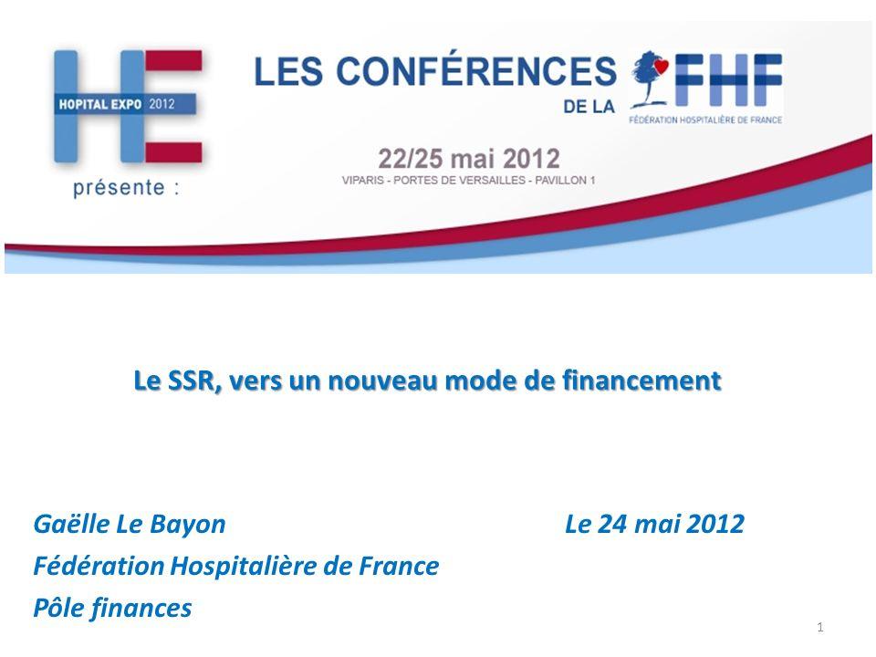 Le SSR, vers un nouveau mode de financement Gaëlle Le Bayon Le 24 mai 2012 Fédération Hospitalière de France Pôle finances 1