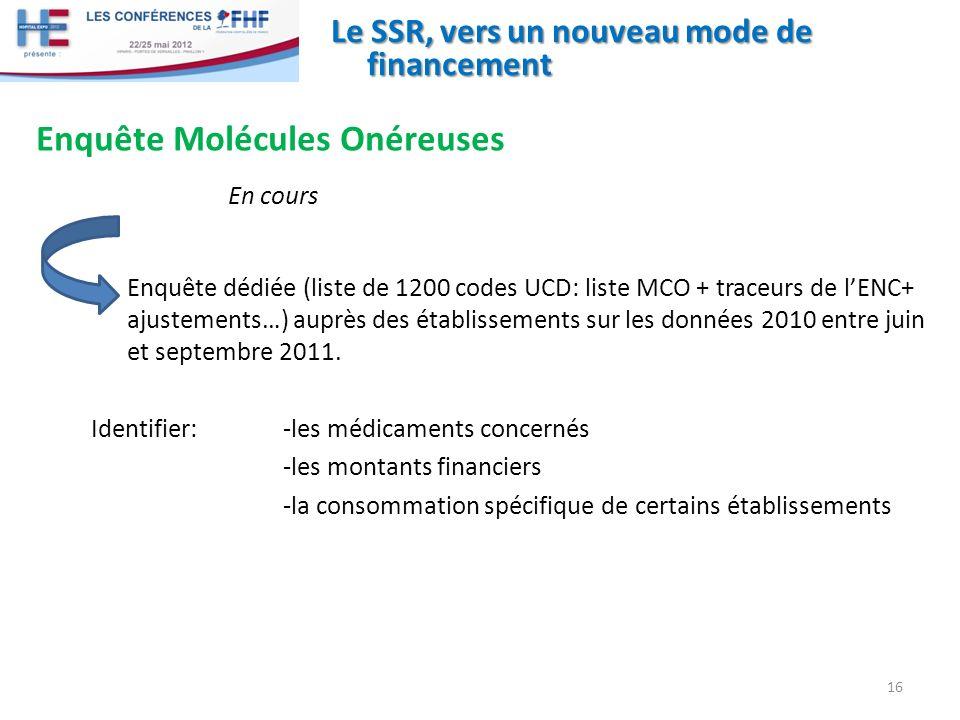Le SSR, vers un nouveau mode de financement Enquête Molécules Onéreuses En cours 16 Enquête dédiée (liste de 1200 codes UCD: liste MCO + traceurs de lENC+ ajustements…) auprès des établissements sur les données 2010 entre juin et septembre 2011.