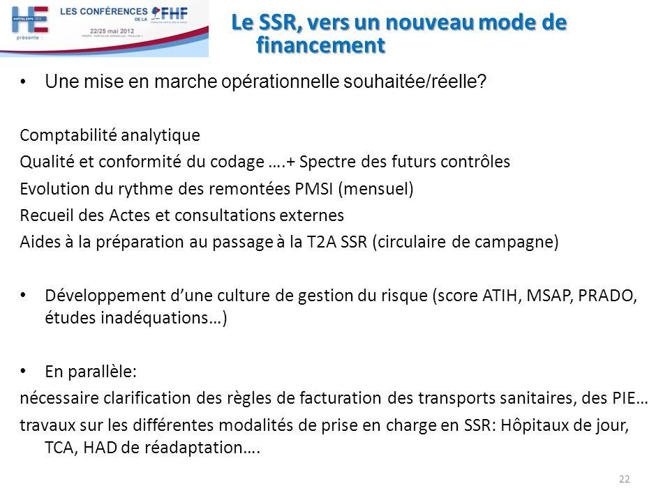 Le SSR, vers un nouveau mode de financement Une mise en marche opérationnelle souhaitée/réelle.