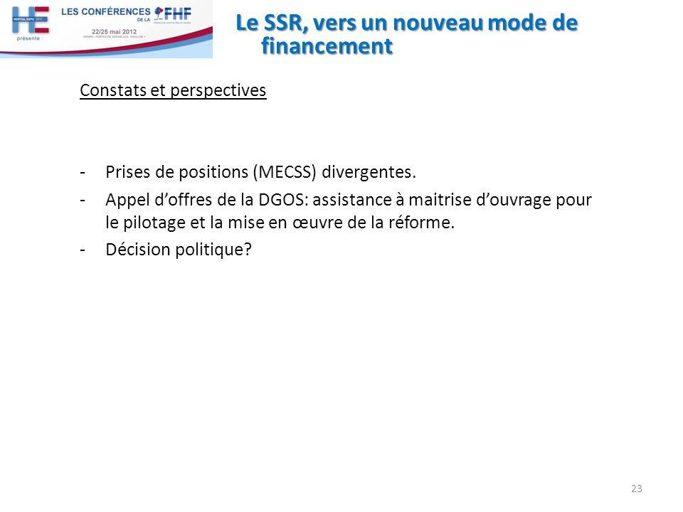 Le SSR, vers un nouveau mode de financement Constats et perspectives -Prises de positions (MECSS) divergentes. -Appel doffres de la DGOS: assistance à