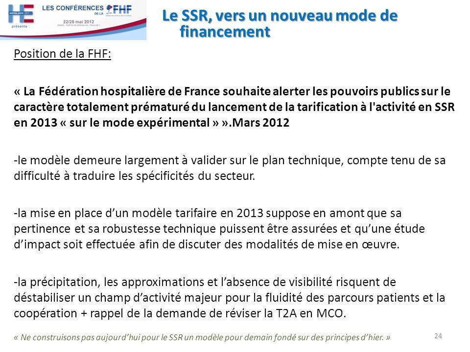 Le SSR, vers un nouveau mode de financement 24 Position de la FHF: « La Fédération hospitalière de France souhaite alerter les pouvoirs publics sur le