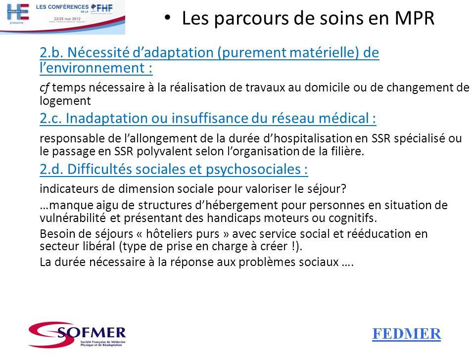 Les parcours de soins en MPR 2.b. Nécessité dadaptation (purement matérielle) de lenvironnement : cf temps nécessaire à la réalisation de travaux au d
