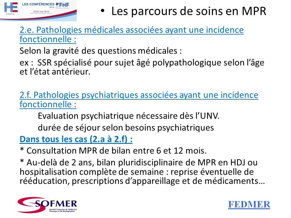 Les parcours de soins en MPR 2.e. Pathologies médicales associées ayant une incidence fonctionnelle : Selon la gravité des questions médicales : ex :