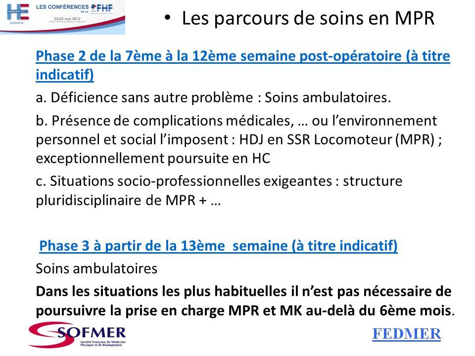 Les parcours de soins en MPR Phase 2 de la 7ème à la 12ème semaine post-opératoire (à titre indicatif) a. Déficience sans autre problème : Soins ambul