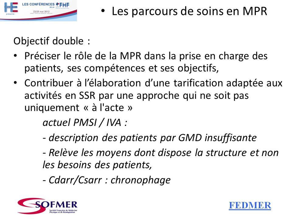 Les parcours de soins en MPR Ils décrivent pour chaque typologie de patients : - ses besoins, - la place et les objectifs d une prise en charge en MPR, - les moyens humains, matériels (principes), - leur chronologie ainsi que les résultats attendus.
