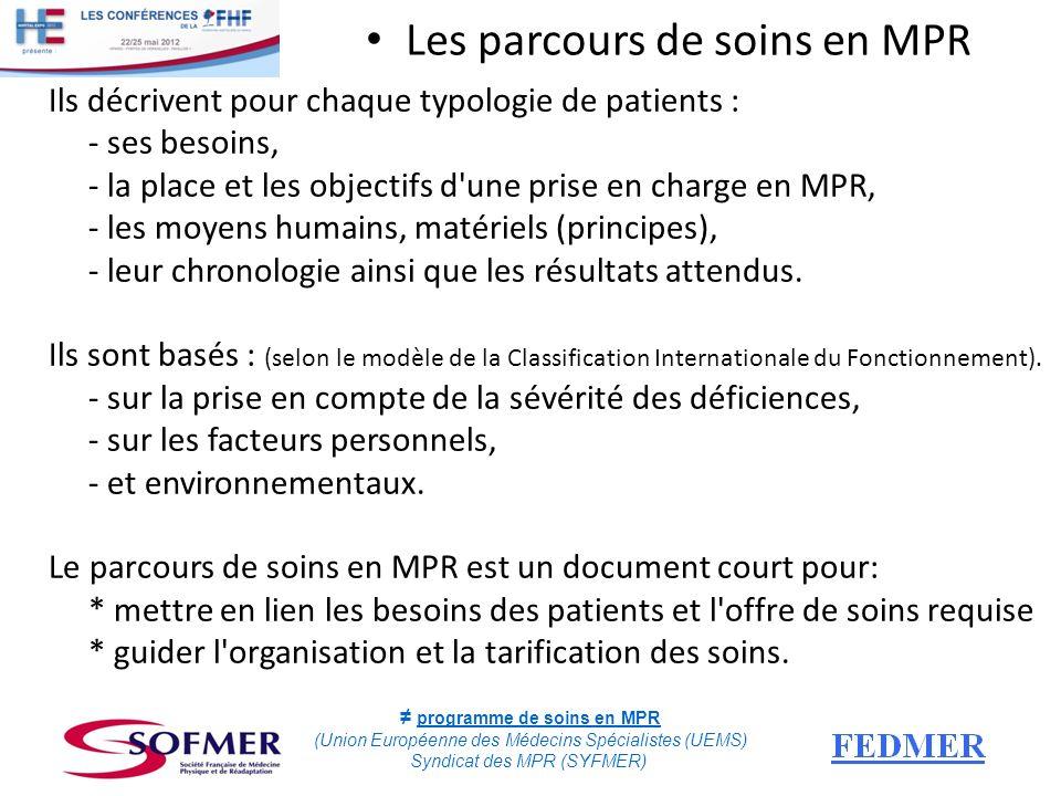 Les parcours de soins en MPR Ils décrivent pour chaque typologie de patients : - ses besoins, - la place et les objectifs d'une prise en charge en MPR