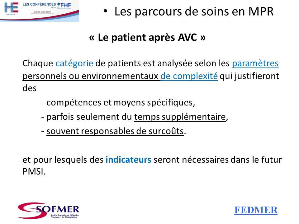 Les parcours de soins en MPR « Le patient après AVC » Chaque catégorie de patients est analysée selon les paramètres personnels ou environnementaux de