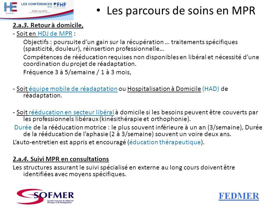 Les parcours de soins en MPR 2.a.3. Retour à domicile, - Soit en HDJ de MPR : Objectifs : poursuite dun gain sur la récupération … traitements spécifi