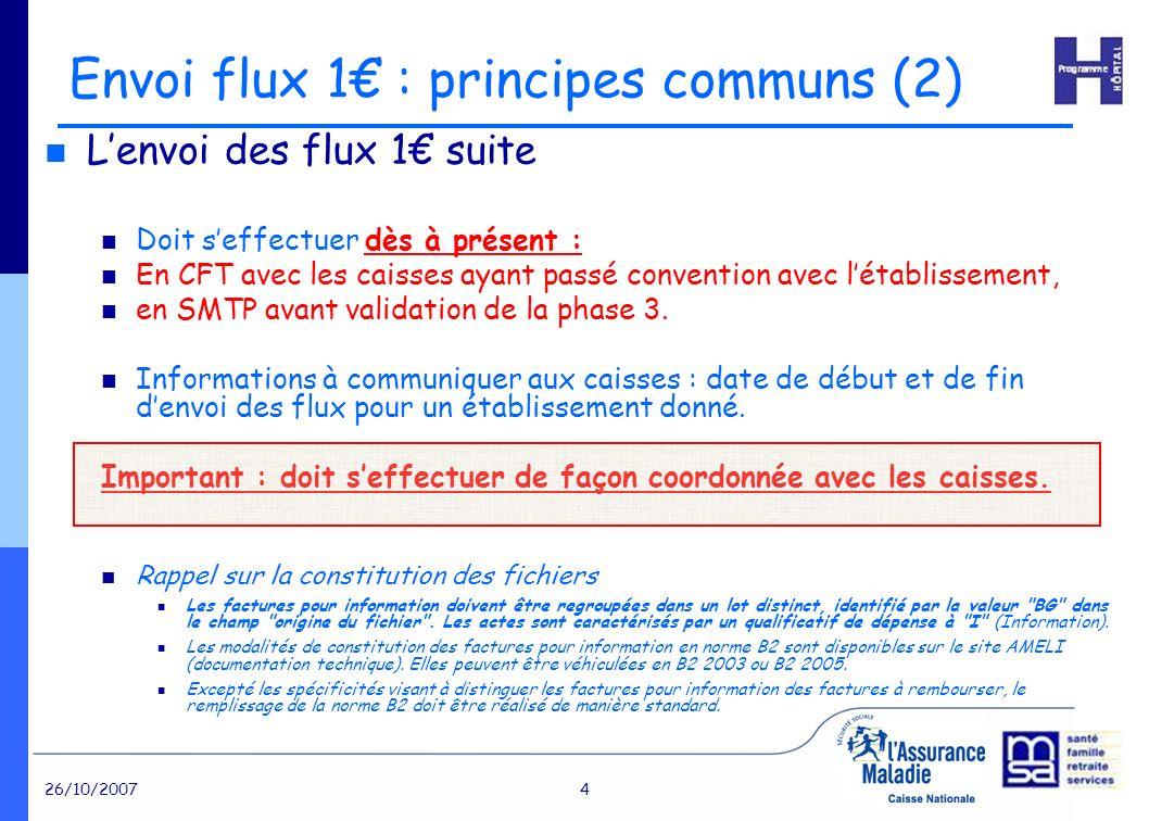 26/10/20074 Envoi flux 1 : principes communs (2) Lenvoi des flux 1 suite Doit seffectuer dès à présent : En CFT avec les caisses ayant passé convention avec létablissement, en SMTP avant validation de la phase 3.