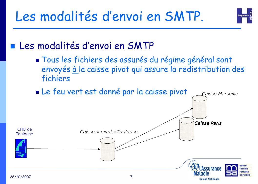26/10/20077 Les modalités denvoi en SMTP Tous les fichiers des assurés du régime général sont envoyés à la caisse pivot qui assure la redistribution des fichiers Le feu vert est donné par la caisse pivot Les modalités denvoi en SMTP.