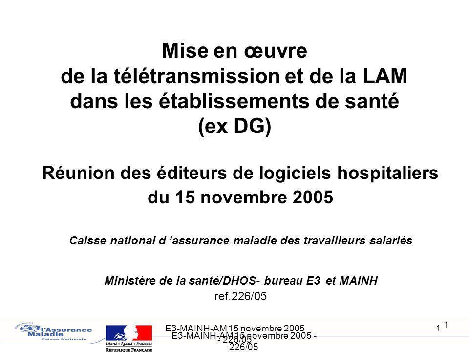 E3-MAINH-AM 15 novembre 2005 - 226/05 1 1 Réunion des éditeurs de logiciels hospitaliers du 15 novembre 2005 Caisse national d assurance maladie des t