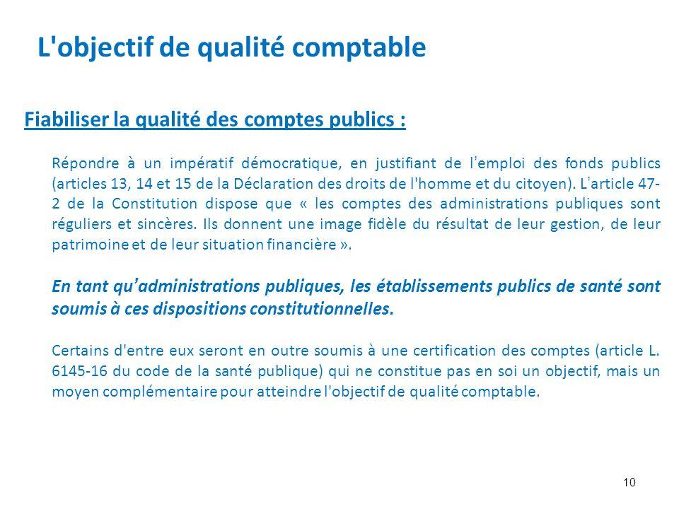 10 Fiabiliser la qualité des comptes publics : Répondre à un impératif démocratique, en justifiant de lemploi des fonds publics (articles 13, 14 et 15