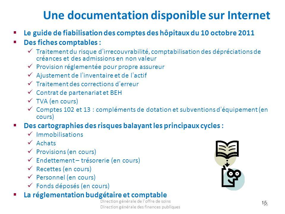 15 Une documentation disponible sur Internet Le guide de fiabilisation des comptes des hôpitaux du 10 octobre 2011 Des fiches comptables : Traitement